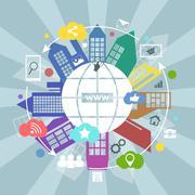 Global internet vector concept illustration. - stock illustration