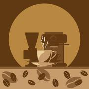 A hot cup of coffee signs and coffee making machine with beans. Stock Illustration