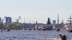 Hamburg boat parade on harbor birthday by day timelapse Stock Footage