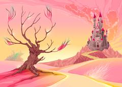 Fantasy landscape with castle Stock Illustration