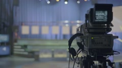 Camera in a TV Studio before recording the show Stock Footage