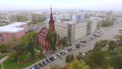 Great Roman Catholic Church in Irkutsk Stock Footage