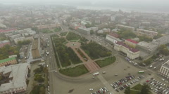 Traffic on the street in the historical quarter in Irkutsk Stock Footage