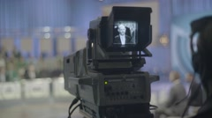 The camera in the TV Studio (panoramic shot) Stock Footage