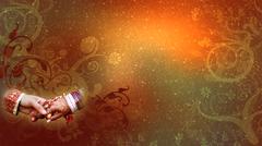 Wedding Background, Hastamilap, Orange - stock illustration