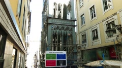 Santa Justa Lift in city of Lisbon, Portugal Stock Footage