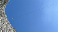 Tightrope Walker Goes on a Rope Stock Footage