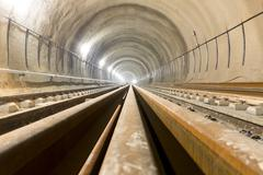 Subway tunnel rails - stock photo