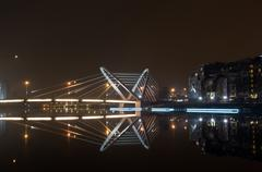 Lazarevsky Bridge Night view from the waterfront Admiral Lazarev - stock photo