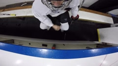 hockey player takes drink of water helmet cam view - stock footage