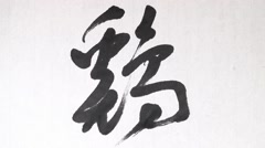 "Handwriting of Chinese characters, ""CHICKEN"" Stock Footage"