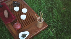 Accessories for the tea ceremony bump on towel Stock Footage