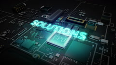 Hologram typo 'Solutions' on CPU chip circuit, artificial intelligence. - stock footage