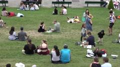 4K People Tourists Admiring Paris by Sacre Coeur Church, Basilica Montmatre View Stock Footage