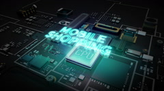 Hologram typo 'Mobile Shopping' on CPU chip circuit, artificial intelligence. - stock footage