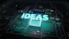 Hologram typo 'IDEAS' on CPU chip circuit, artificial intelligence. Stock Footage