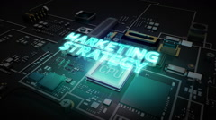 Hologram typo 'Marketing Strategy' on CPU chip circuit, artificial intelligence. - stock footage