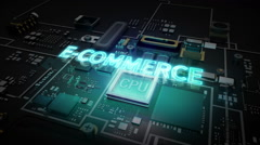 Hologram typo 'E-Commerce' on CPU chip circuit, artificial intelligence. - stock footage