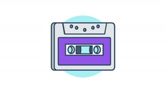 Audio cassette icon rotation 360 degrees Stock Footage