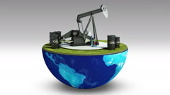 Earth changes oil drilling.oil drum Stock Footage
