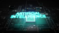 Hologram typo 'Artificial intelligence' on CPU chip circuit, technology. - stock footage