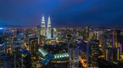 Beautiful and dramatic blue hour view of Kuala Lumpur skyline, Malaysia Stock Footage