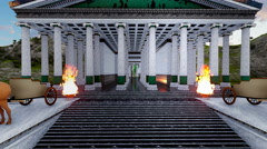 ( CGI ) Fantasy - Greek Temple with Chariots and Fire Stock Footage