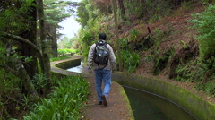 Walking along the so called Levada on the island Madeira, Portugal. Stock Footage