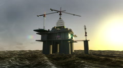 Oil drilling, oil platform in the sea at sunset 3D animation, Stock Footage