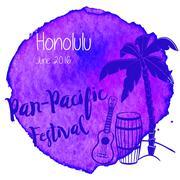 Watercolor Hawaiian, tropical graphic design Stock Illustration