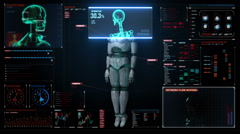 Scaning human skeletal structure inside Robot. digital medical display. - stock footage