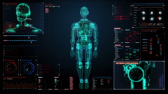 Rotating semitransparency 3D robot body, X-ray scan in digital interface. Stock Footage