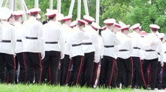 Students from a military school, a holiday day of victory Stock Footage