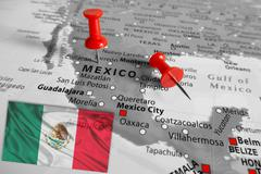 Red marker over Mexico Stock Photos
