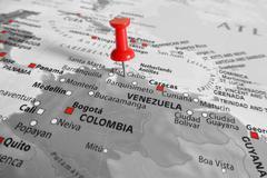 Red marker over Venezuela - stock photo