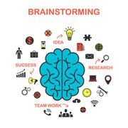 The concept of brainstorming, the concept of marketing. Creative idea Stock Illustration