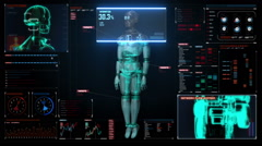 Scanning rotating 3D robot body in digital interface. display. - stock footage