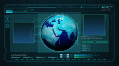Rotating Earth in Digital display interface. computer operation data screen. Stock Footage