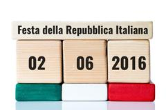 italy independence day wooden calendar - stock photo