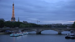 4K Eiffel Tower in Paris, Boats on Seine Sunset View, Tourists Traveling Traffic Stock Footage