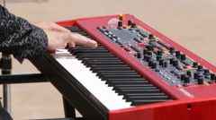 Street musician keyboards Stock Footage