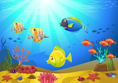 Seabed with corals - stock illustration