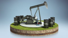 Oil drilling.oil drum on cycle ground.(included alpha) Stock Footage