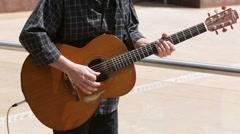 Street musician guitar Stock Footage