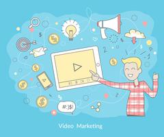 Video Marketing Concept Piirros