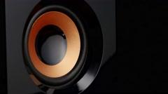 Moving professional music studio monitor. Closeup Stock Footage