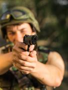 Soldier with weapon Stock Photos