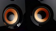 Moving sub-woofer. Speaker cone pumping. Closeup Stock Footage