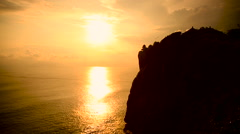 Sunset at Pura Luhur Uluwatu temple, Bali Indonesia Stock Footage