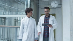 Group of Students of Medical School have Meeting in College Hallway. Stock Footage